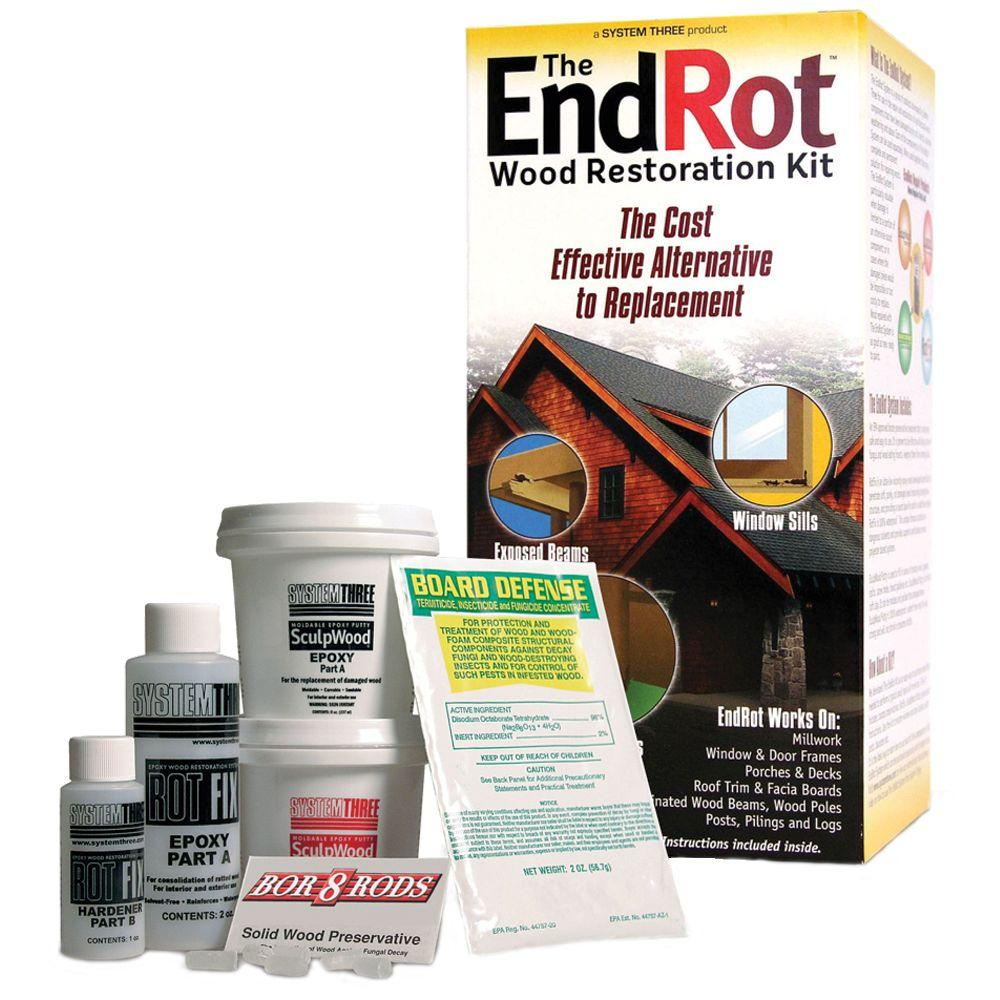 SYSTEM THREE Wood Restoration EndRot Kit-207166 - The Home Depot