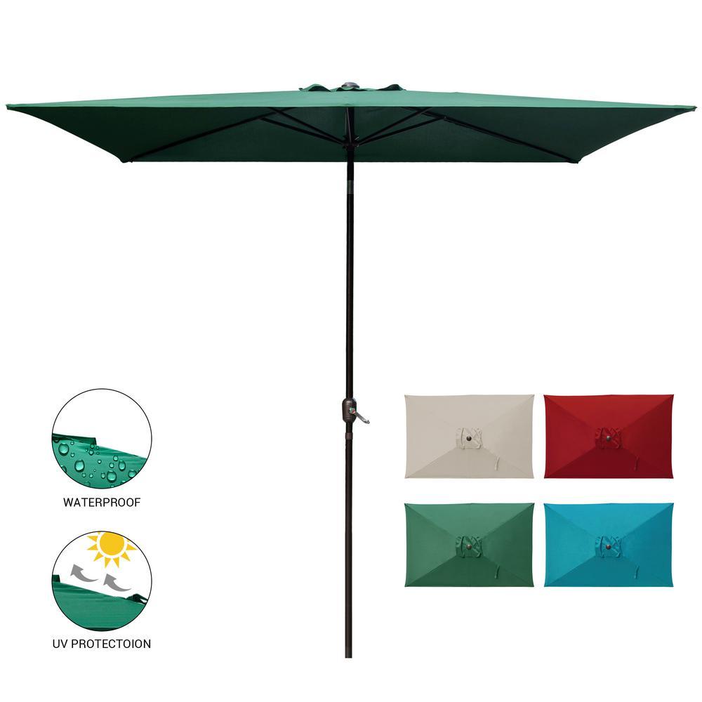 10 ft. x 6.5 ft. Rectangular Market Outdoor Patio Umbrella Table with Push Button Tilt and Crank in Dark Green