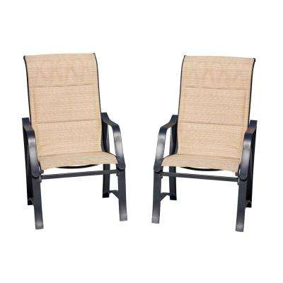 Padded Sling Outdoor Dining Chair in Beige (2-Pack)