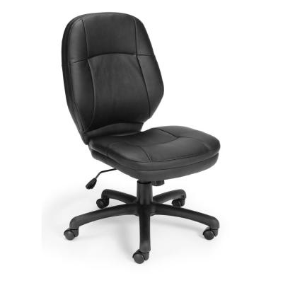Core Collection Black Stimulus Series Leatherette Executive Mid-Back Armless Chair
