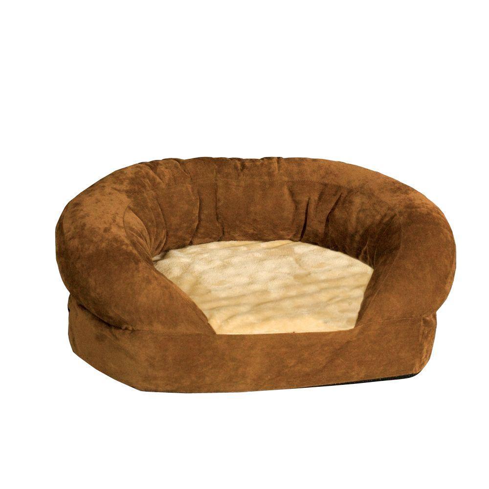 Ortho Bolster Sleeper Medium Brown Velvet Dog Bed