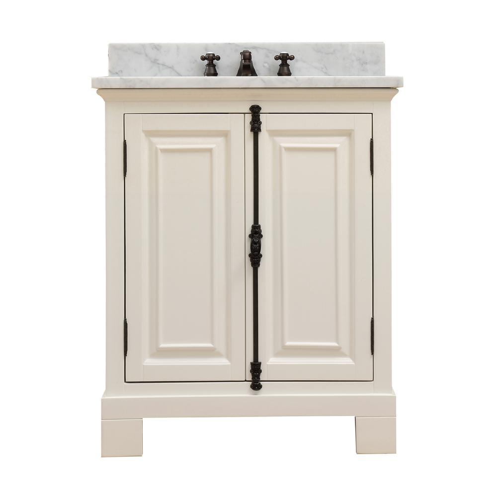 Greenwich 30 in. W x 22 in. D Vanity in Antique White with Marble Vanity Top in White with White Basin