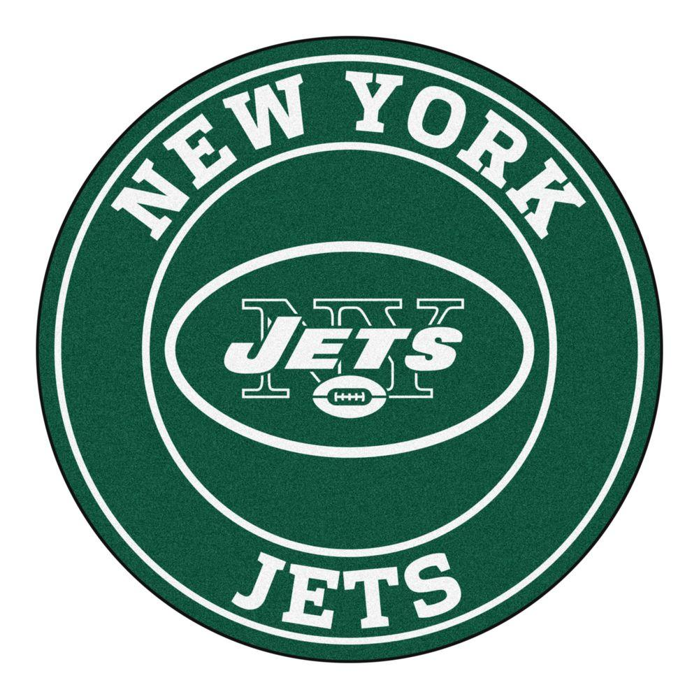 fanmats nfl new york jets green 2 ft x 2 ft round area rug 17969