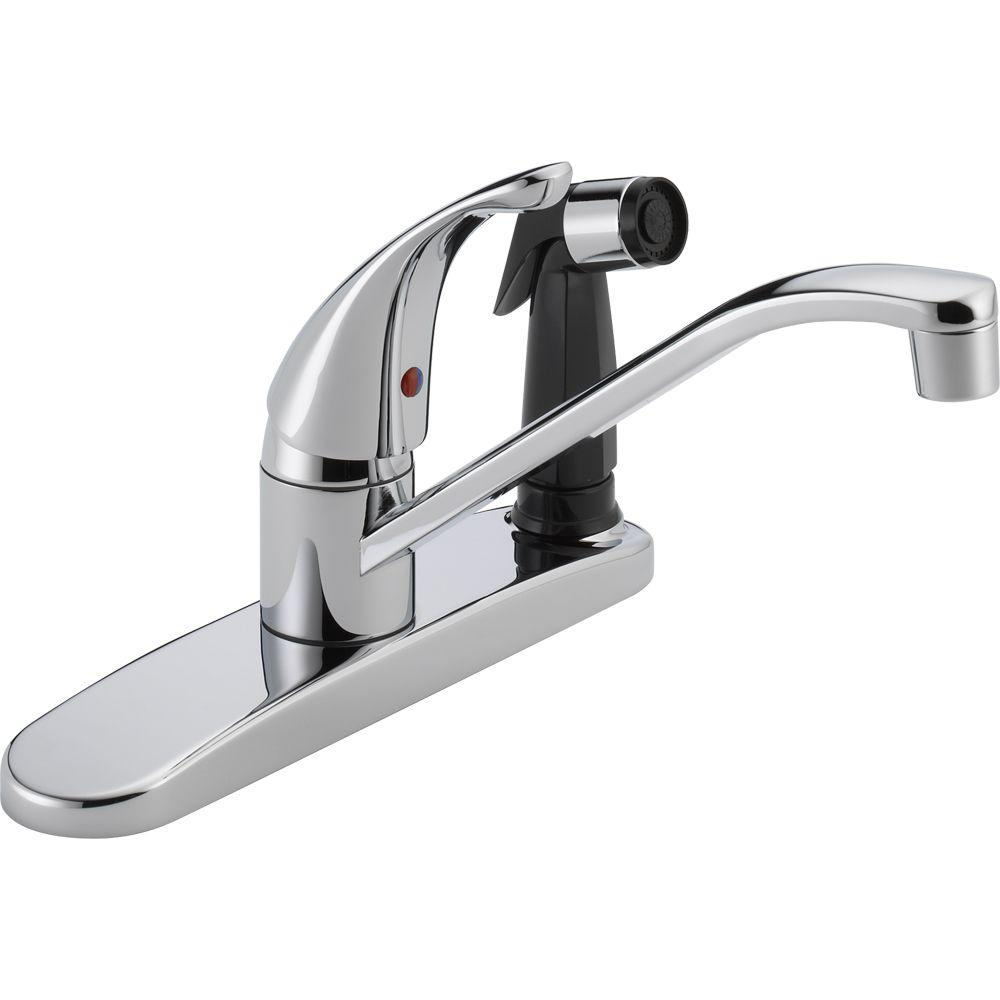 Peerless Core Single-Handle Standard Kitchen Faucet with Integrated Side  Sprayer in Chrome