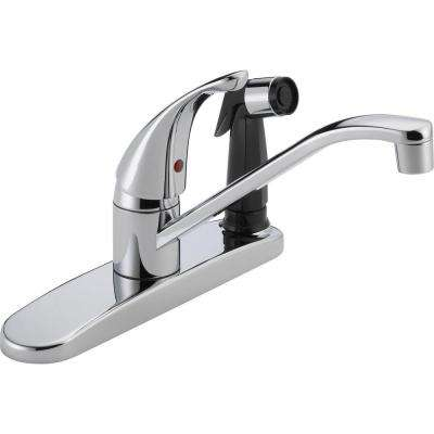 Core Single-Handle Standard Kitchen Faucet with Integrated Side Sprayer in Chrome