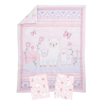 Sweet Llama and Butterflies Floral Pink and Purple 3-Piece Mini Crib Bedding Set
