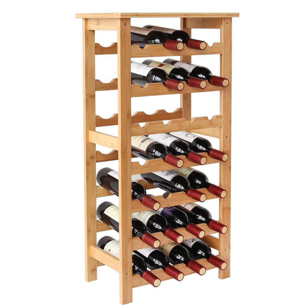 28-Bottles Natural Bamboo Floor Wine Rack