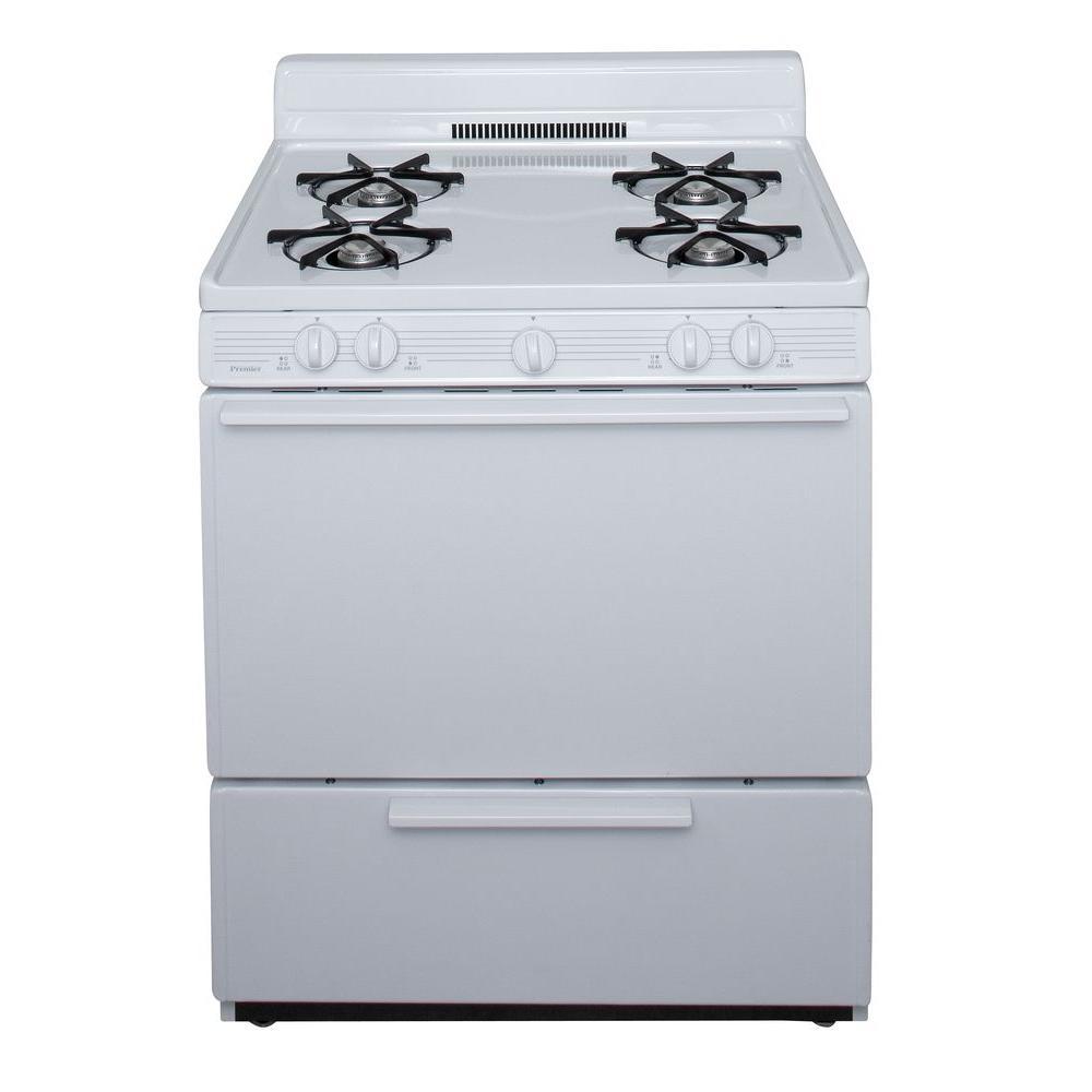 Premier 30 in. 3.91 cu. ft. Freestanding Gas Range in White