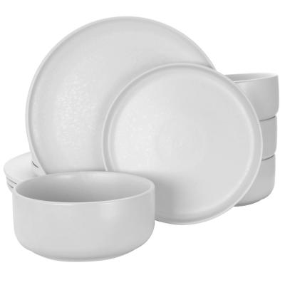 Stone Lava 12-Piece Casual White Ceramic Dinnerware Set (Service for 4)