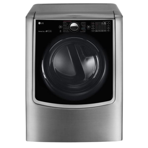 LG Electronics 9.0 cu. ft. Large Smart Front Load Electric Dryer w/ TurboSteam, Pedestal Compatible & Wi-Fi Enabled in Graphite Steel