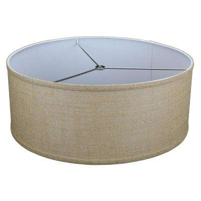 18 in. Top Diameter x 18 in. Bottom Diameter x 7 in. H Burlap Natural Drum Lamp Shade