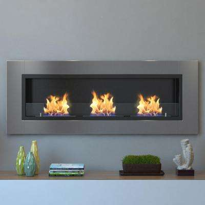 Devant 53 in. Recessed Wall Mounted Ethanol Fireplace in Stainless Steel