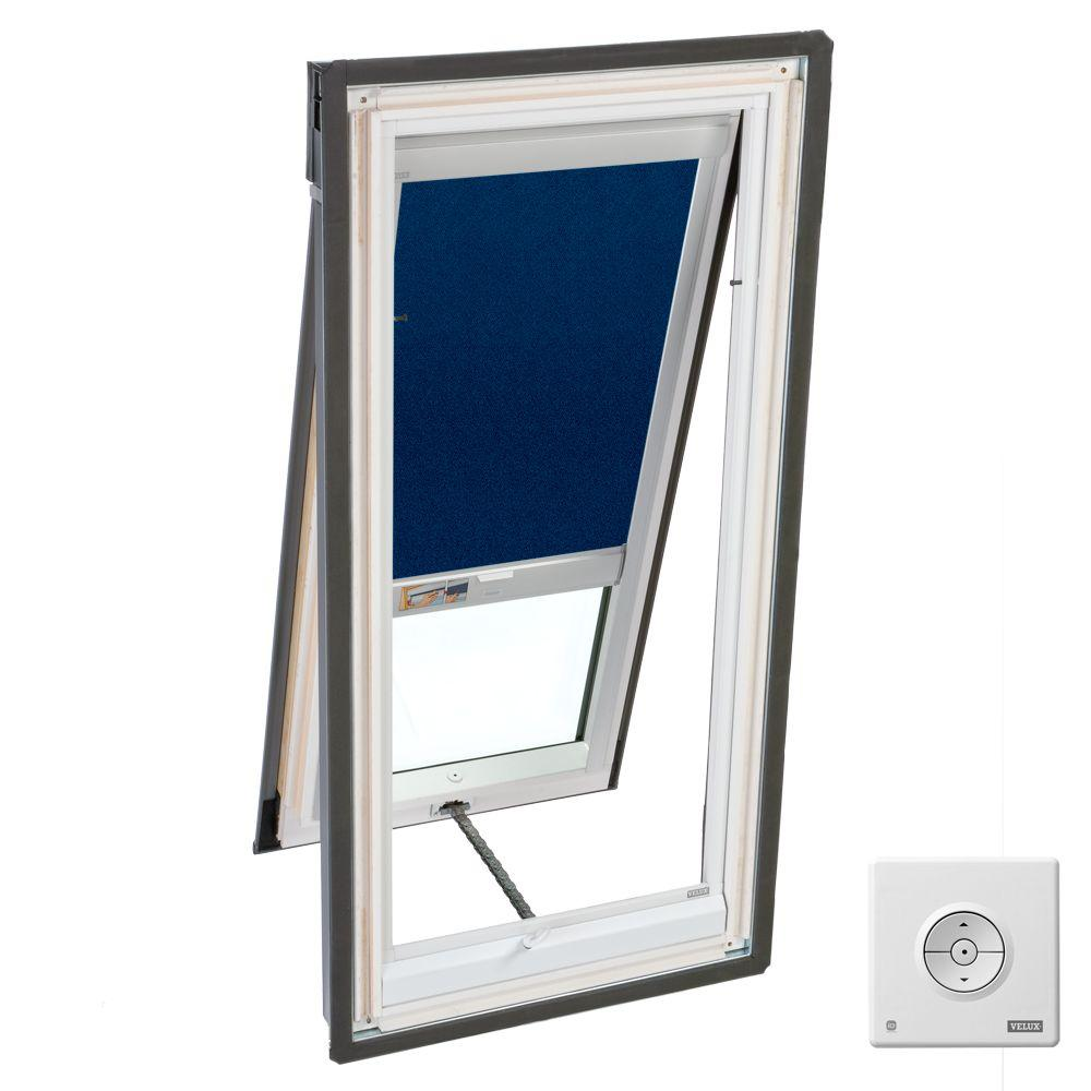 VELUX 21 in. x 45-1/2 in. Fresh Air Skylight Deck-Mount Vented with Dark Blue Solar Blackout Blind-DISCONTINUED