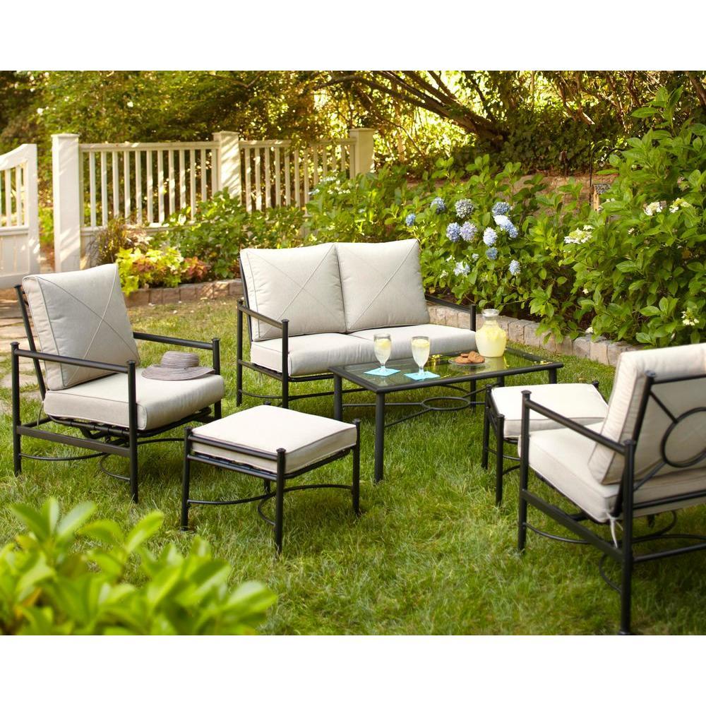 Hampton Bay Barnsley 4-Piece Patio Deep Seating Set with Textured Silver Pebble Cushions-DISCONTINUED