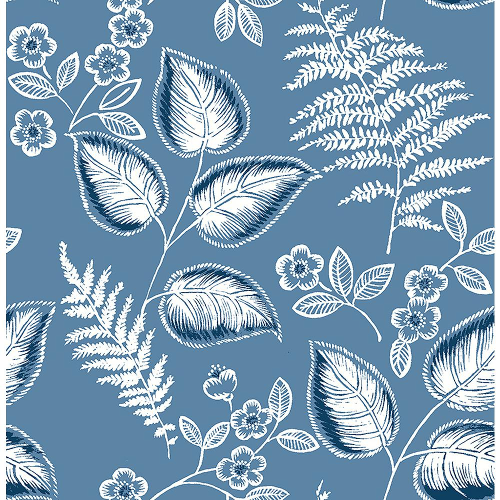 A Street Trianon Blue Botanical Wallpaper Sample 2702 22709sam The