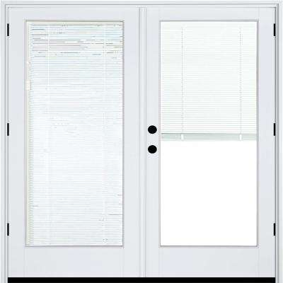 72 in. x 80 in. Fiberglass Smooth White Right-Hand Outswing Hinged Patio Door with Low E Built in Blinds