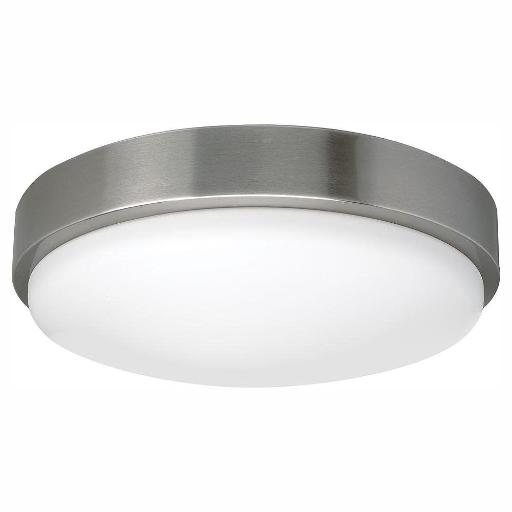 Commercial electric 14 in bluetooth brushed nickel integrated led round flush mount dimmable multi color temperature options 1600 lumens