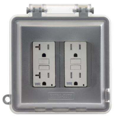 2-Gang Extra Duty Non-Metallic While-In-Use Weatherproof Horizontal/Vertical Receptacle Cover, Gray