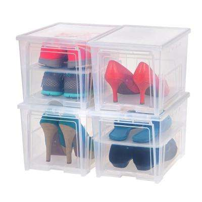4 Pair Clear Easy Access Women's Shoe Storage Box Plastic Shoe Organizer