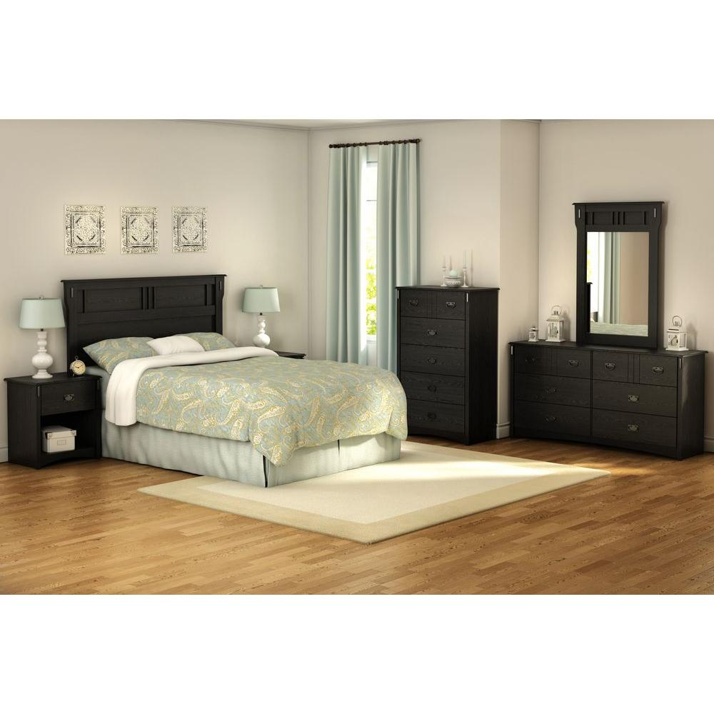 South Shore Tryon 33 in. x 47 in. Black Oak Framed Mirror
