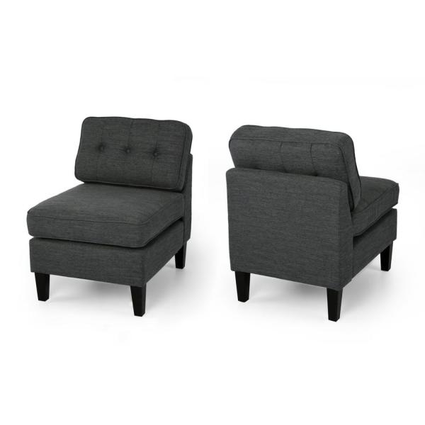 Crowningshield Charcoal and Black Upholstered Slipper Chair