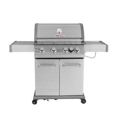 Luxury 4-Burner Propane Gas Grill in Stainless Steel with Searing Side Burner