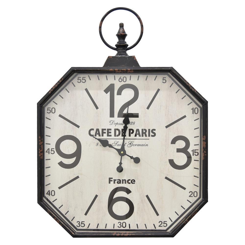 23 in. Black Metal Wall Clock
