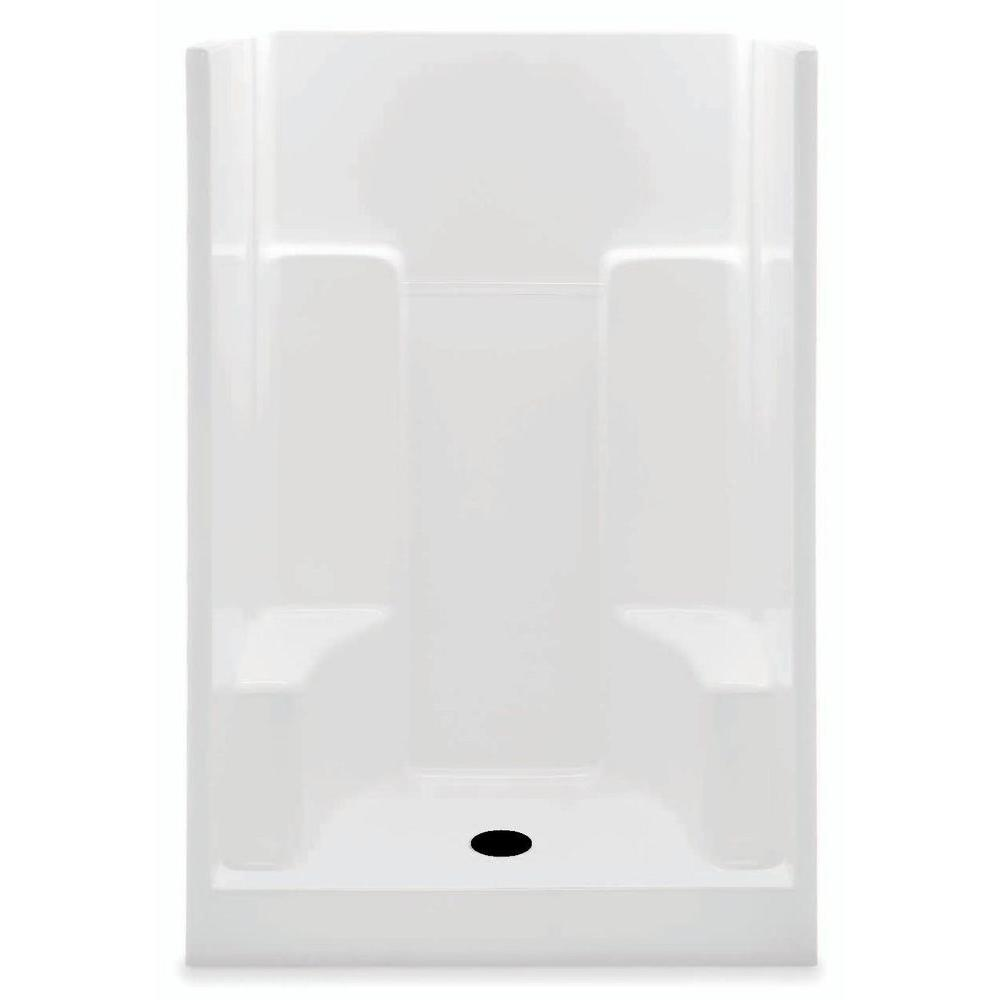 Aquatic 48 in. x 35 in. x 72 in. Gelcoat Shower Stall in White ...