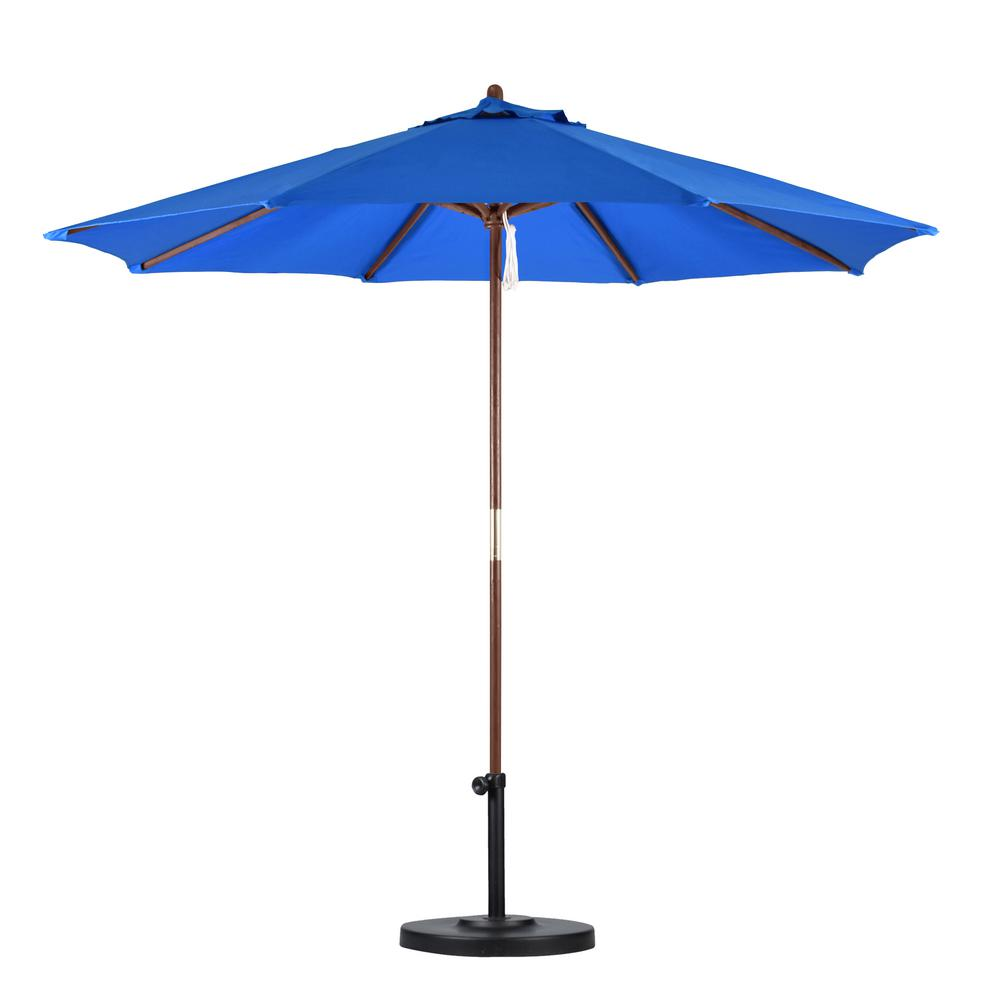 California Umbrella 9 Ft. Wood Pulley Open Patio Umbrella In Pacific Blue  Polyester