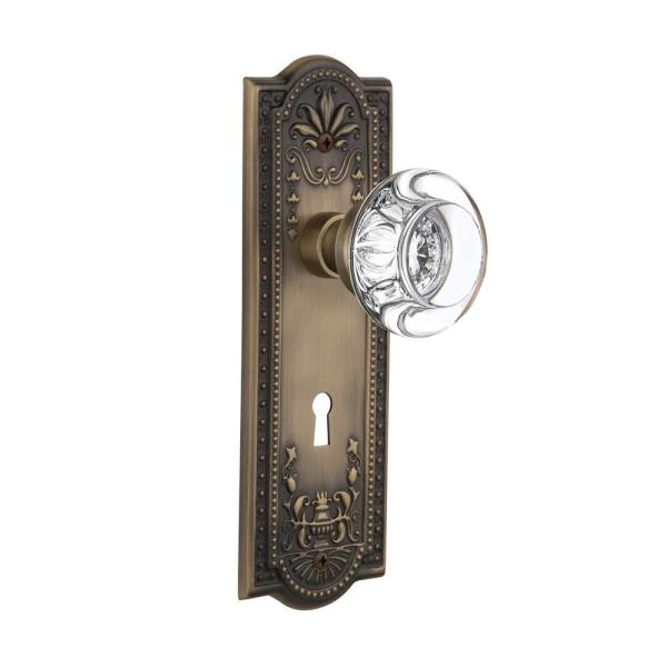 Nostalgic Warehouse Meadows Plate With Keyhole 2 3 4 In Backset Antique Brass Passage Hall Closet Round Clear Crystal Glass Door Knob 711357 The Home Depot