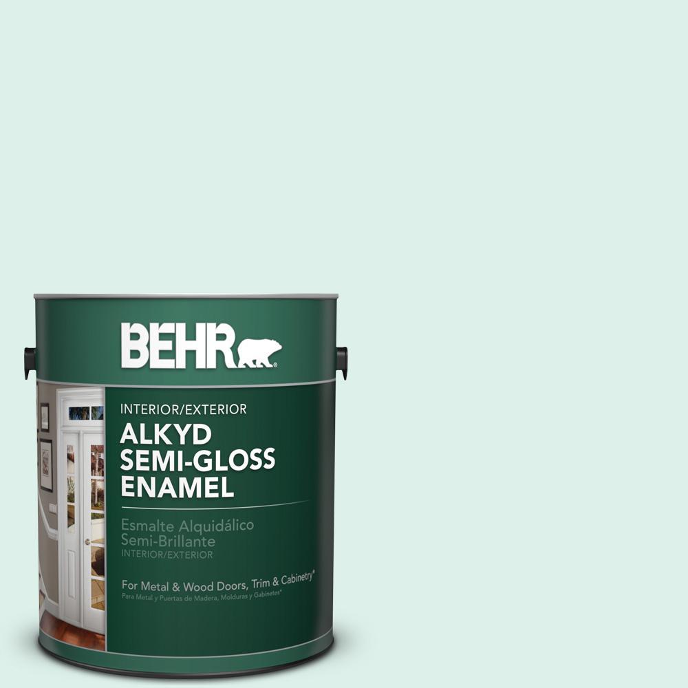 1 gal. #490C-1 Ice Cube Semi-Gloss Enamel Alkyd Interior/Exterior Paint