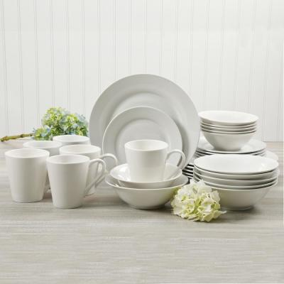 Noble Court 30-Piece Rustic White Ceramic Dinnerware Set (Service for 6)