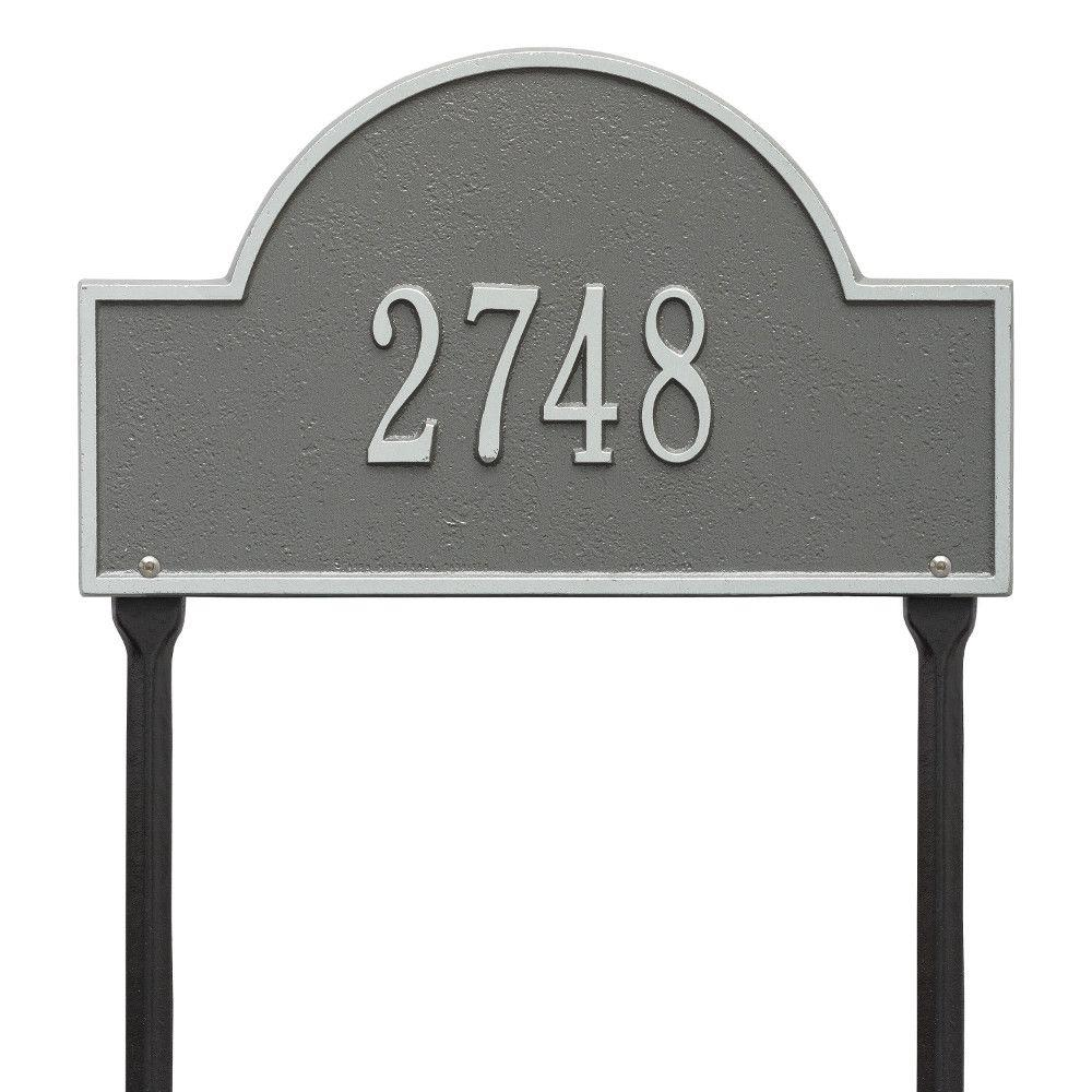 Whitehall Products Arch Marker Standard Pewter/Silver Lawn 1-Line Address Plaque