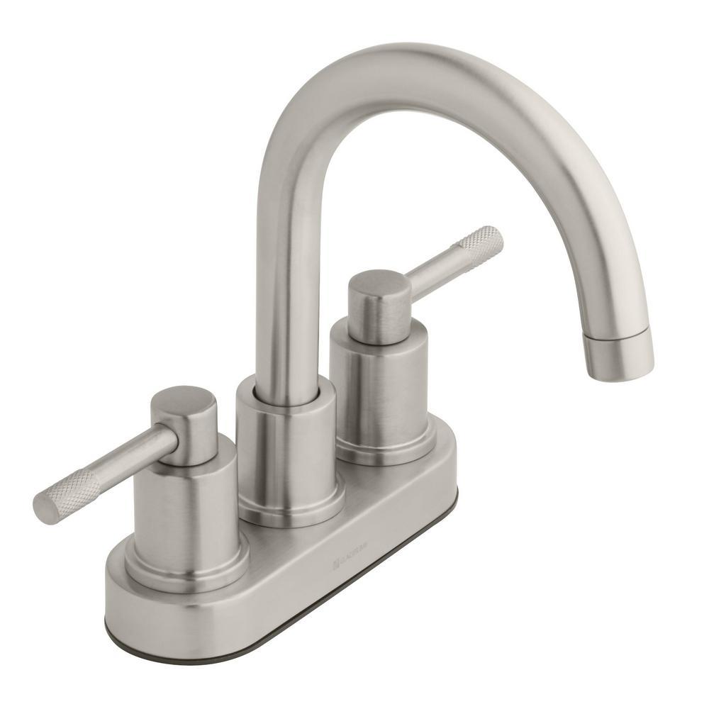 Glacier Bay Axel 4 in. Centerset 2-Handle High-Arc Bathroom Faucet in  Brushed Nickel