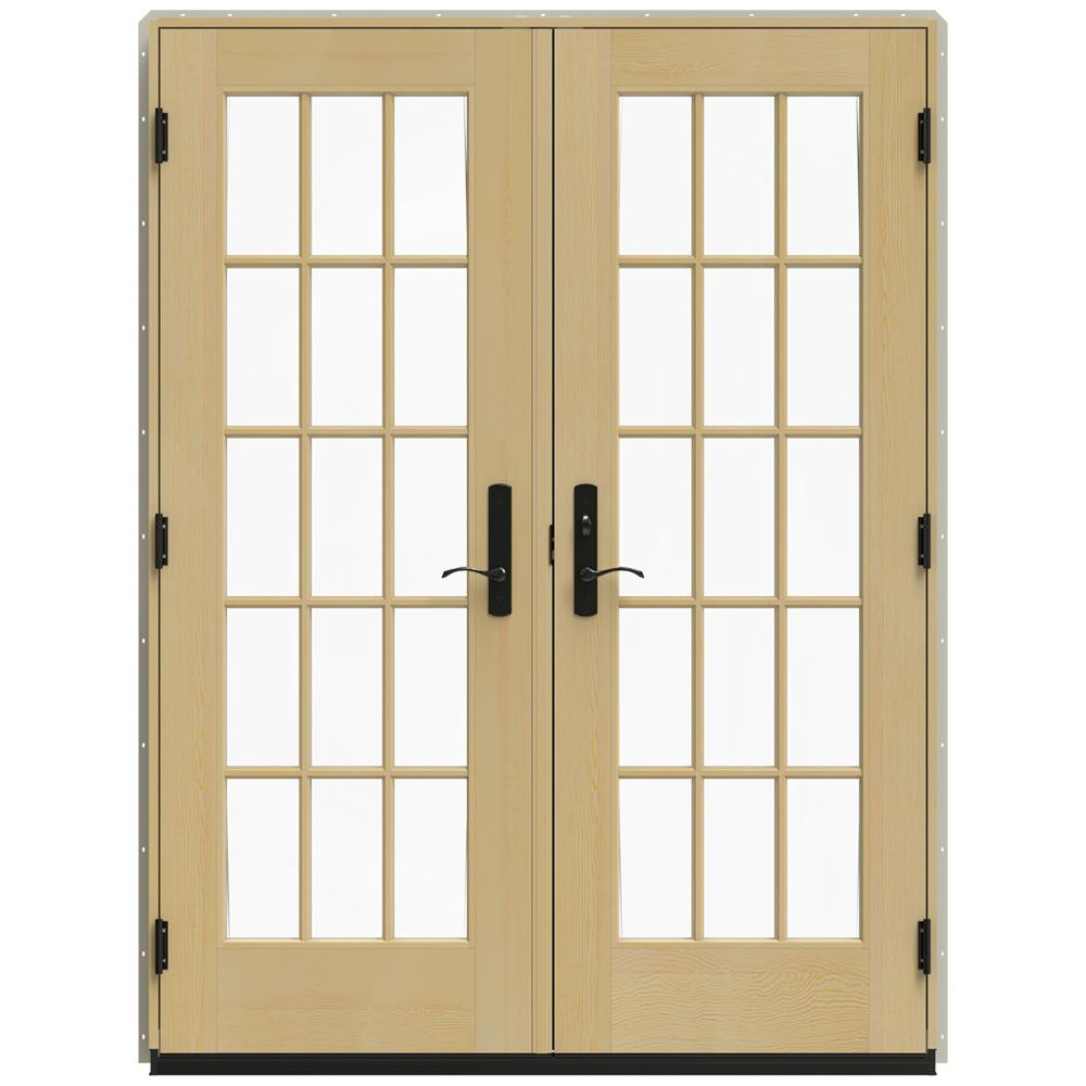 Jeld wen in x 79 5 in w 4500 desert sand left hand for Wood french patio doors