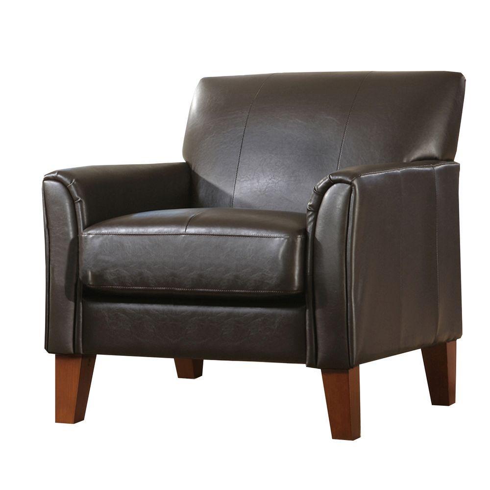 Dark Brown Vinyl Arm Chair