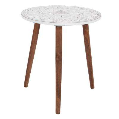 Brown and White Carved Wood Round Accent Table
