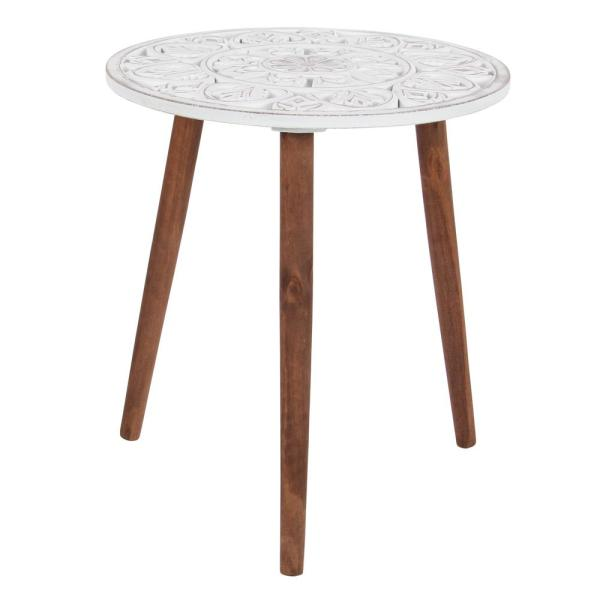 Litton Lane Brown and White Carved Wood Round Accent Table 98777