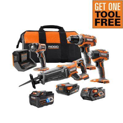18V Lithium-Ion Brushless 4-Tool Combo Kit with (1)2.0 Battery, (1)4.0 Battery, Charger, Bag w/Free OCTANE 9.0Ah Battery