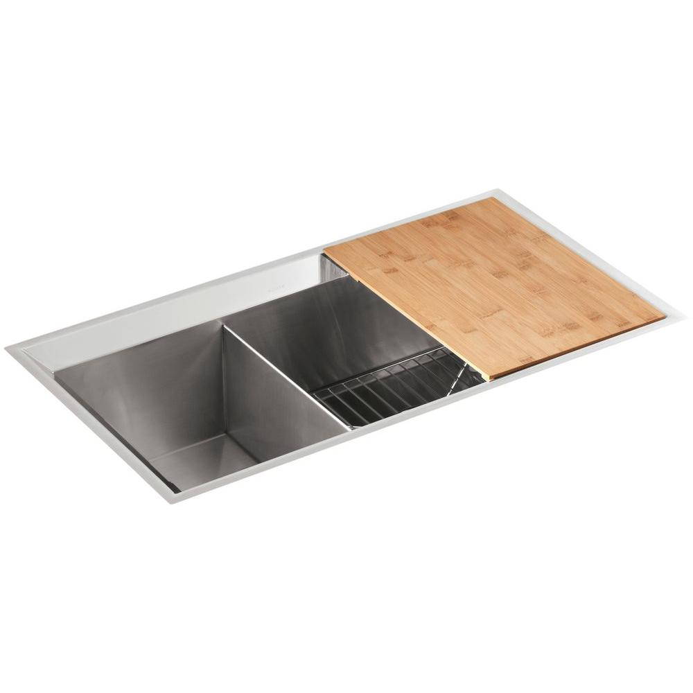 KOHLER Poise Undermount Stainless Steel 33 in. Double Basin Kitchen Sink