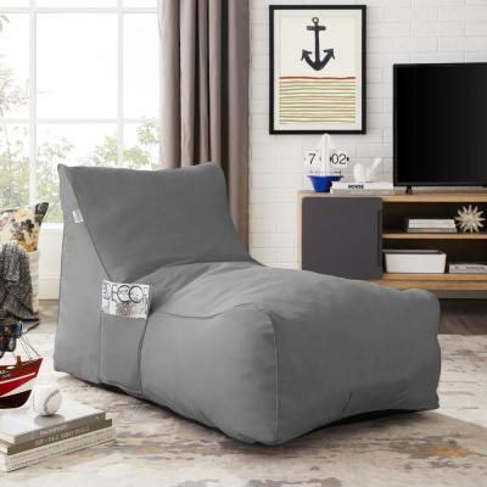 Resty Light Grey Bean Bag Lounge Chair Nylon Foam Sleeper