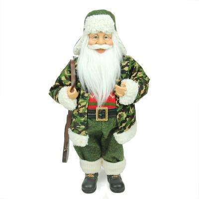 18.25 in. Santa Claus in Camouflage with Hunting Rifle Christmas Decoration