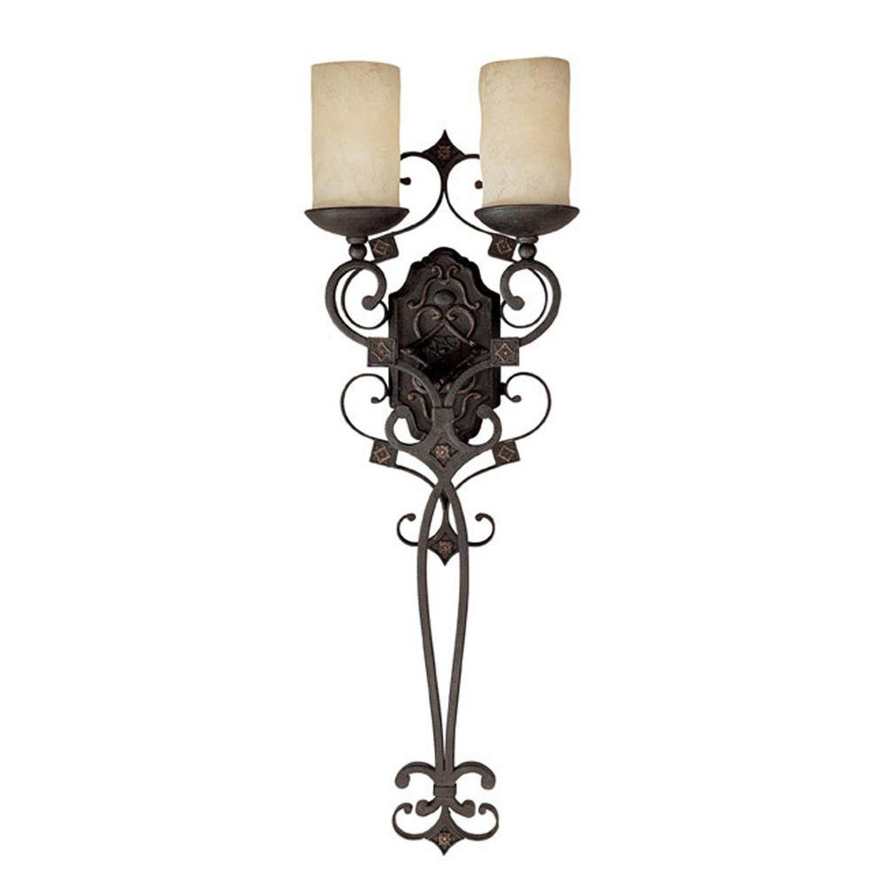 Filament Design 2-Light Rustic Iron Sconce with Scavo Glass
