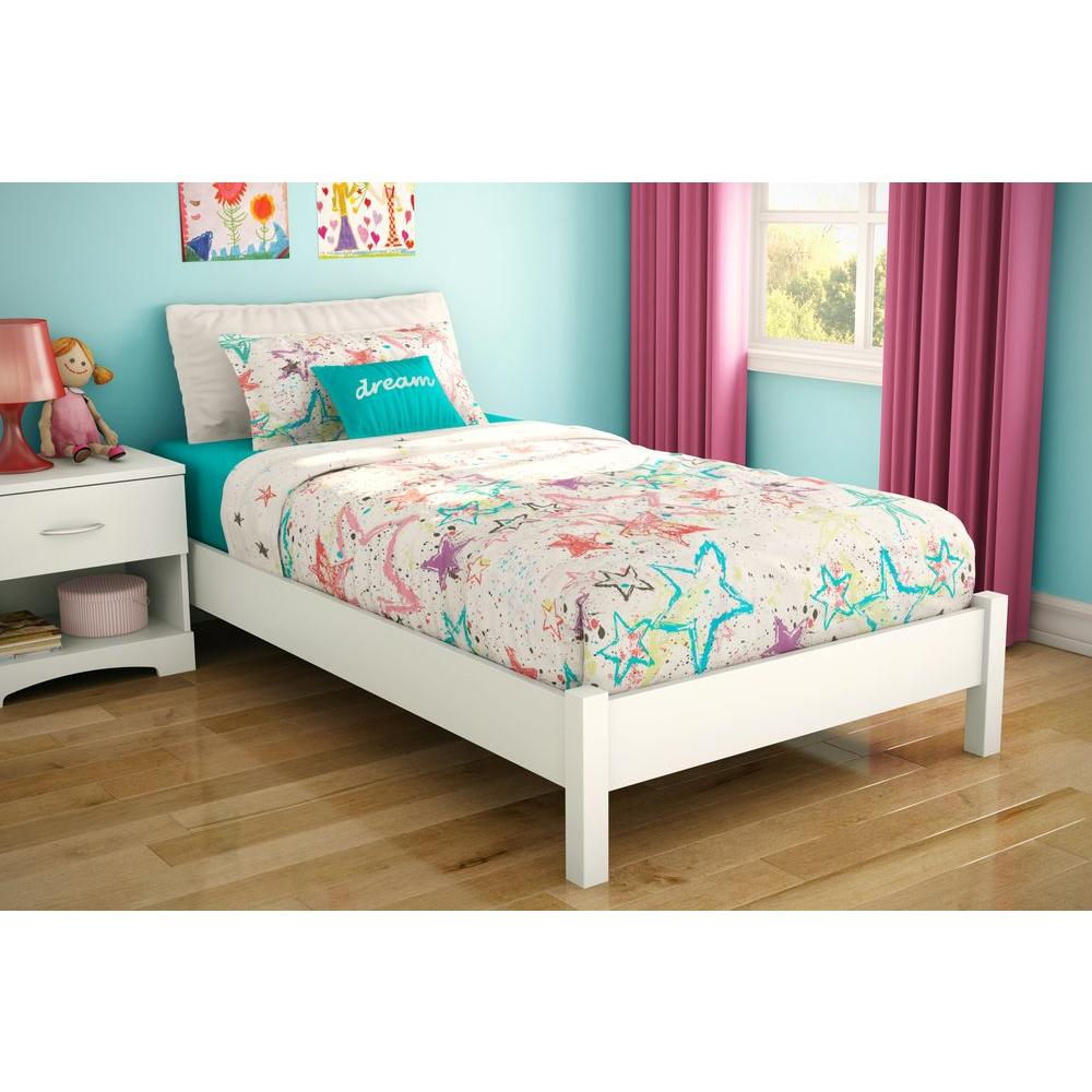 South Shore Step One Twin Size Platform Bed In Pure White