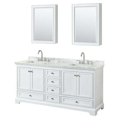 72 in. W x 22 in. D Vanity in White with Marble Vanity Top in Carrara White with White Basins and Medicine Cabinets