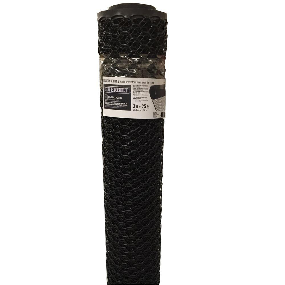 Everbilt 3/4 in. x 3 ft. x 25 ft. Black PVC Poultry Fence-EPFB3625 ...