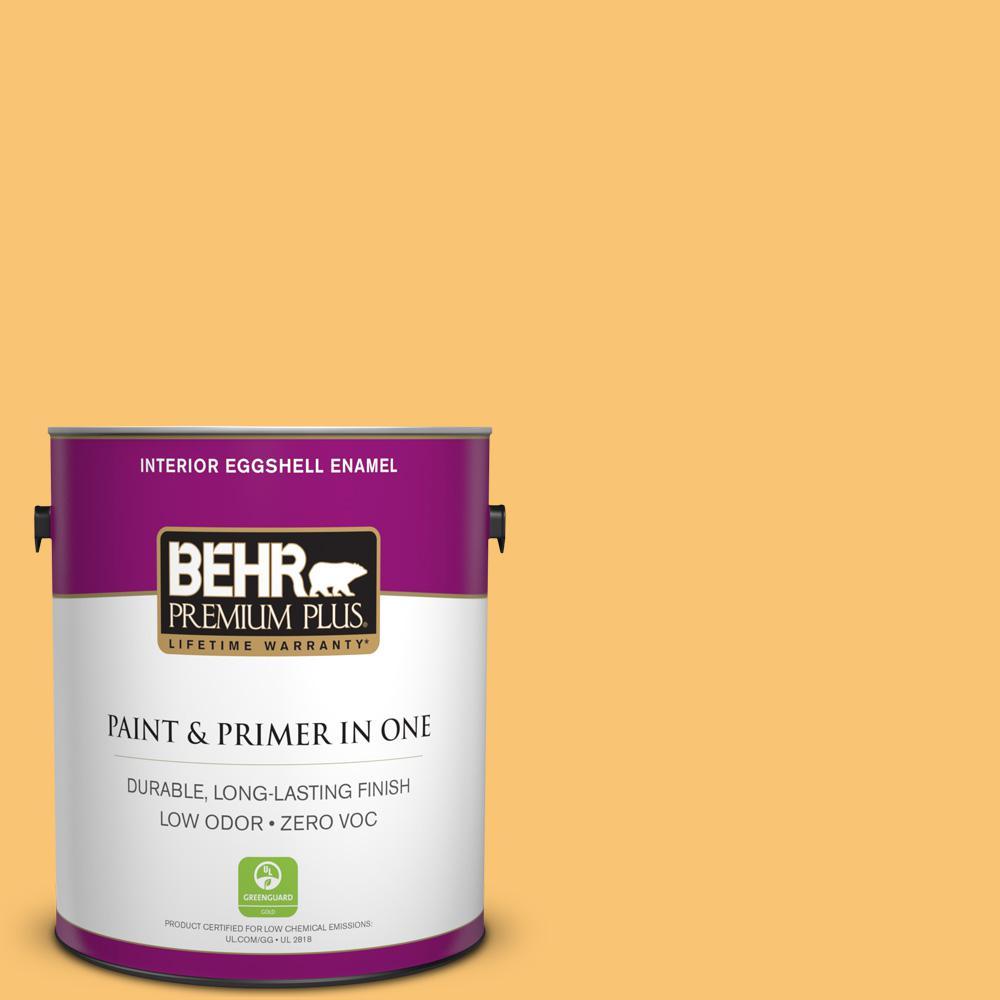 BEHR Premium Plus 1-gal. #BIC-42 Liquid Gold Eggshell Enamel Interior Paint