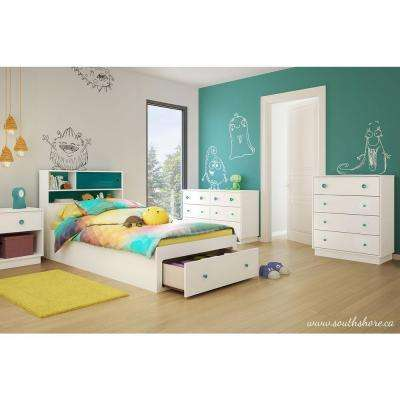Little Monsters 1-Drawer Pure White with Turquoise Nightstand