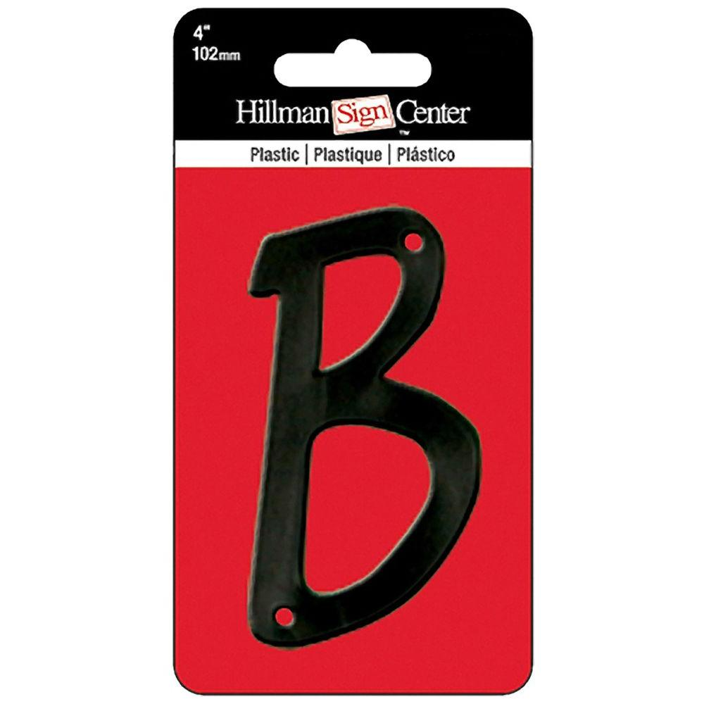 4 in. Black Plastic Letter B