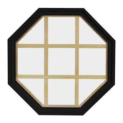 36 in. x 36 in. Octagon Black 4-9/16 in. Jamb 9-Lite Grille Geometric Aluminum Clad Wood Window
